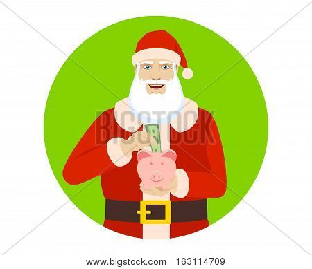 Santa Claus puts banknote in a piggy bank. Santa Claus save money in piggy bank. Portrait of Santa Claus in a flat style. Vector illustration.