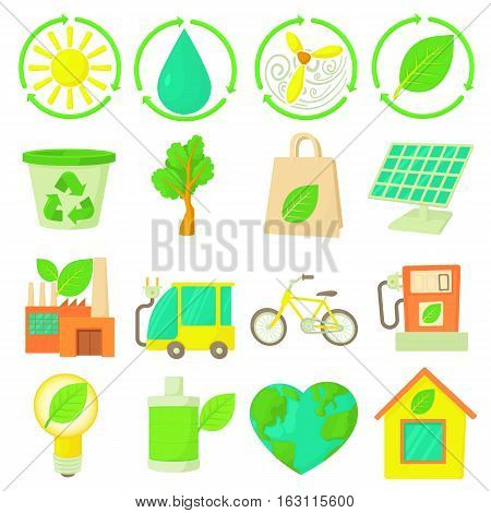 Ecology items icons set. Cartoon illustration of 16 ecology items vector icons for web