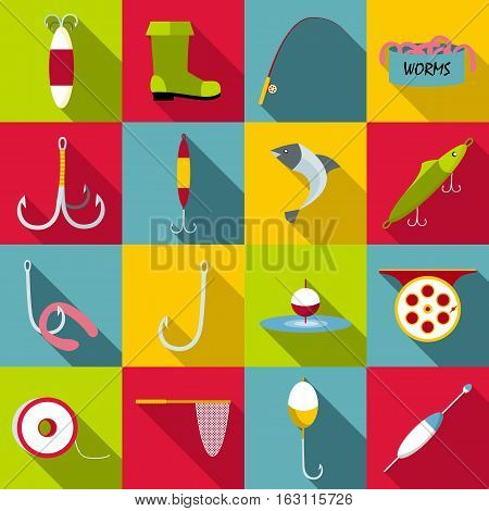 Fishing tools items set. Flat illustration of 16 fishing tools items vector icons for web