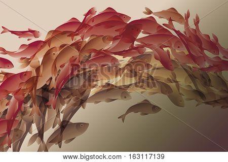 vector illustration of koi fish in natural elegant color