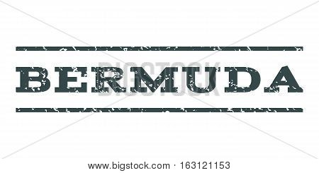 Bermuda watermark stamp. Text tag between horizontal parallel lines with grunge design style. Rubber seal stamp with scratched texture. Vector soft blue color ink imprint on a white background.