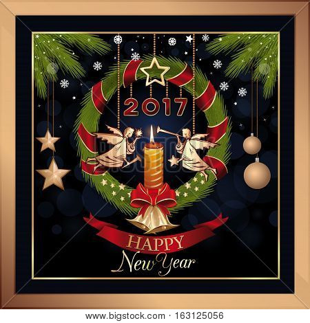 New Year's Eve 2017. Wreath of fir branches with jingle bells, burning candle and Christmas angels. Happy New Year. Christmas greeting card. Vector illustration
