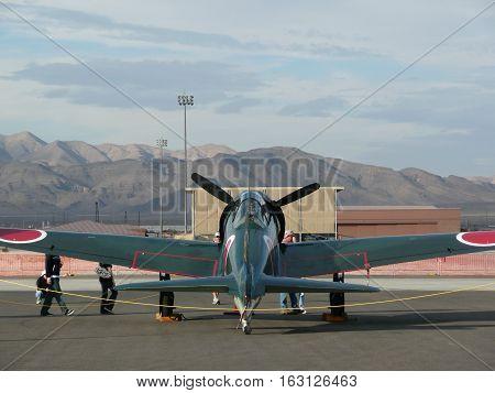n-us-nv  Nellis AFB, Nevada - 2007-11-11:  Military Air Show - Mitsubishi A6M Zero Fighter Plane