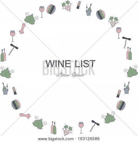 Wine list restaurant menu circle template. Line style green, blue, pink, dark blue icons on white. Perfect wine design element stock vector illustration