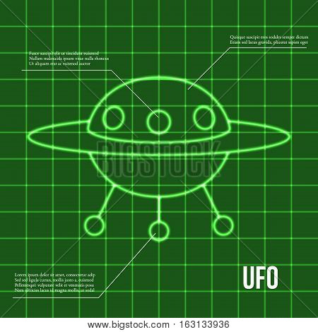 Ufo flying disc indicator on retro display vector illustration