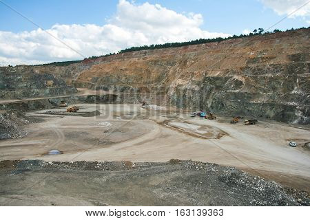 Bottom of surface mining and machinery in an open pit mine