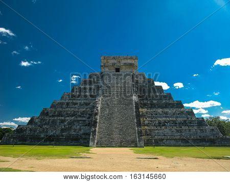 Pyramid of Kukulkan in Chichen Itza old maya city Yucatan Mexico