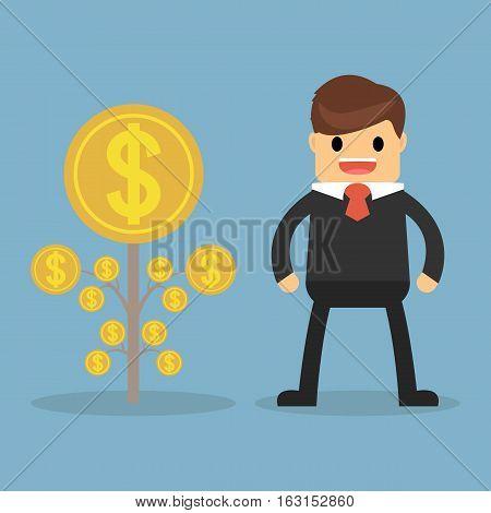 Happy businessman money plant. business concept