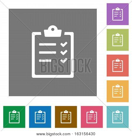 Task list flat icons on simple color square backgrounds