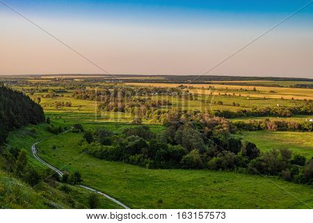 View forest-steppe plains of temperate latitudes. Landscape.