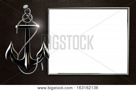 Mockup highly detailed iron anchor with rope isolated on black background. Template for Marine theme and greeting card. Laser cut paper lace frame. 3D rendering.