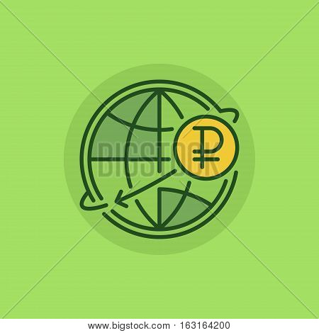 Russian international money transfer flat icon. Ruble currency concept symbol on green background. RUB with globe sign or logo element