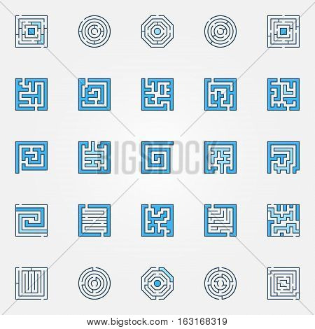 Labyrinth colorful icons. Vector set of blue maze and puzzle creative symbols