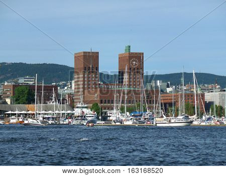 Oslo City Hall on the Waterfront of Oslo Harbor, Norway