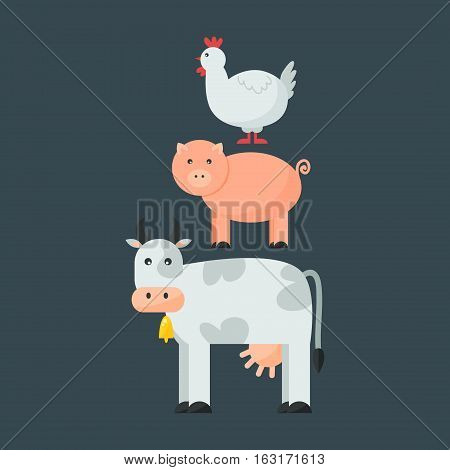 Farm animals set, hen pig and cow domestic cartoon, nature, collection vector illustration. Cute character agriculture funny standing mammal.