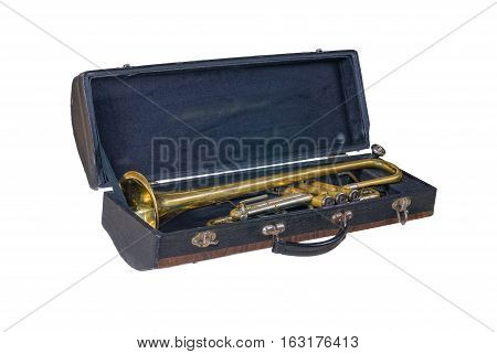 Case with an old trumpet isolated on white background.