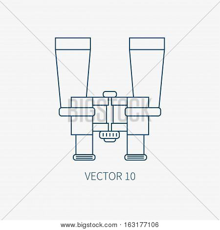 Line flat vector blue marine icon with nautical design elements - retro binoculars. Cartoon style. Illustration , element for your design. Sea adventures. Ocean. Naval. Navigation. Maritime. Vintage.