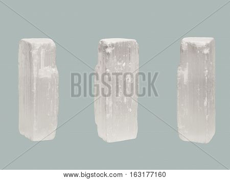 transparent crystal of Selenite isolated isolated on white background