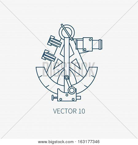 Line flat vector blue marine icon with nautical design elements - retro sextant. Cartoon style. Illustration , element for your design. Sea adventures. Ocean. Naval. Navigation. Maritime. Vintage.