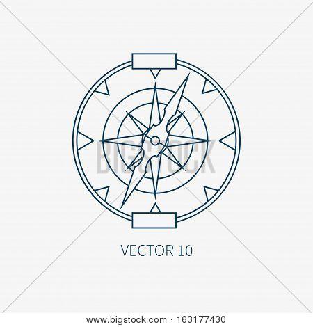 Line flat vector blue marine icon with nautical design elements - retro compass. Cartoon style. Illustration , element for your design. Sea adventures. Ocean. Naval. Navigation. Maritime. Vintage.