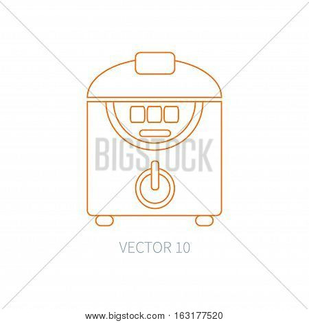 Line flat vector kitchenware icons - double boiler. Cutlery tools. Cartoon style. Illustration, element for your design. Equipment for food preparation. Kitchen. Household. Cooking. Cook. Steamer.