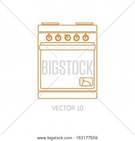 Line flat vector kitchenware icons - oven. Cutlery tools. Cartoon style. Illustration, element for your design. Equipment for food preparation. Kitchen. Household. Cooking. Cook. Stove. Bake.