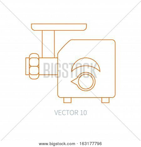 Line flat vector kitchenware icons - meat grinder. Cutlery tools. Cartoon style. Illustration, element for your design. Equipment for food preparation. Kitchen. Household. Cooking. Cook. Mincer.