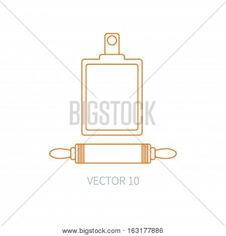 Line flat vector kitchenware icons plunger, cutting board. Cutlery tools. Cartoon style. Illustration, element for your design. Equipment for food preparation. Kitchen. Household. Cooking. Cook.