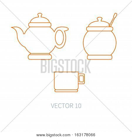 Line flat vector kitchenware icons - teapot, sugar-bowl, cup. Cutlery tools. Cartoon style. Illustration, element for your design. Equipment for food preparation. Kitchen. Household. Cooking. Cook.