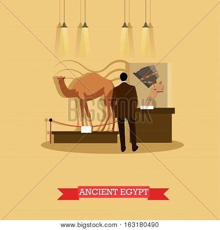 Vector illustration of Archaeological museum exposition in flat style. Visitor watching exhibition of ancient Egyptian artwork Nefertiti bust and stuffed camel.