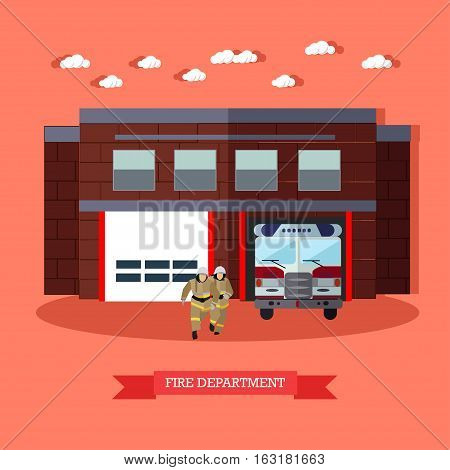Vector illustration of Fire department in flat style. Fire service, running firefighters and fire truck. Red fire engine and firemen in uniform. Fire brigade. Resque service.