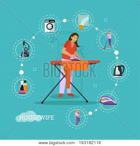 Vector set of housekeeping infographic items, icons. Woman ironing, mother with son, household appliances. Housewife concept design element in flat style.