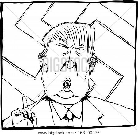 Dec. 27 2016. Outlined cartoon caricature of President Elect Donald Trump with swastika behind him