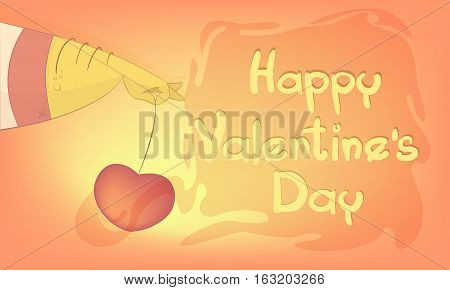 Heart for Valentine's day. Greeting card in cartoon style with the text Happy Valentine's day. Vector illustration on a colored background.