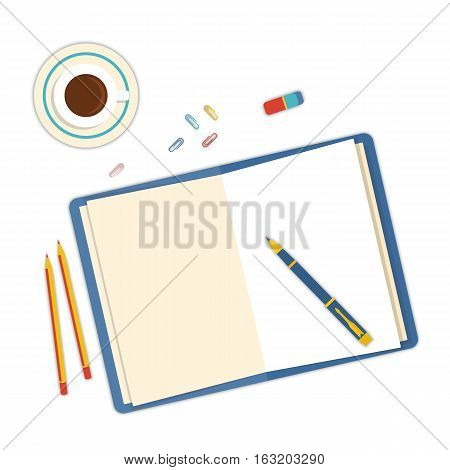Flat design mockup per office workspace with open book and objects for creative workplace isolated on white background. Vector Illustration