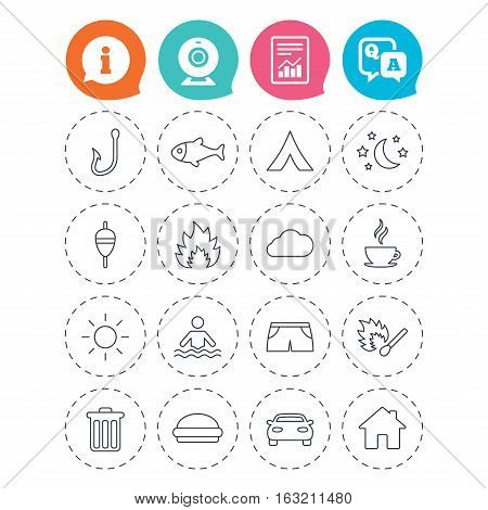 Camping and fishing icons. Tourist tent, fire and match symbols. Coffee cup and hamburger. Car and house. Fish, hook and float bobber thin outline signs. Information, question and answer icons