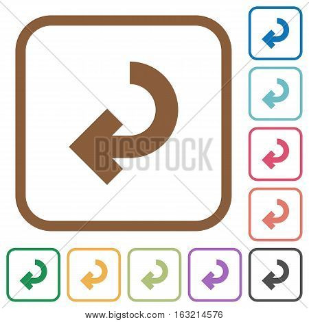 Return arrow simple icons in color rounded square frames on white background
