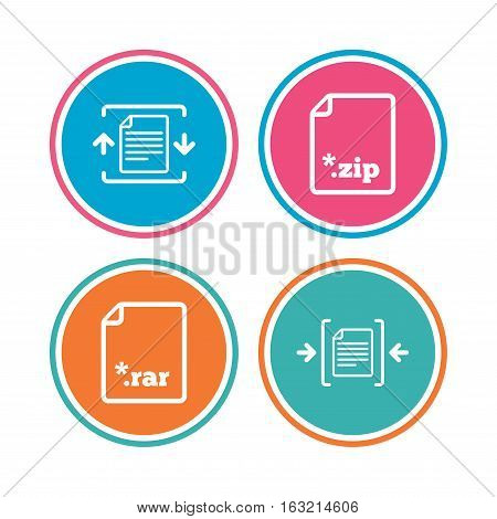 Archive file icons. Compressed zipped document signs. Data compression symbols. Colored circle buttons. Vector