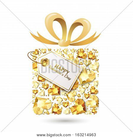 Valentines Day Vector Greeting Card. Gift Box With 3D Gold Heart Diamonds, Gems, Jewels, Bow Ribbon,