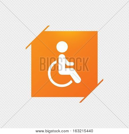 Disabled sign icon. Human on wheelchair symbol. Handicapped invalid sign. Orange square label on pattern. Vector