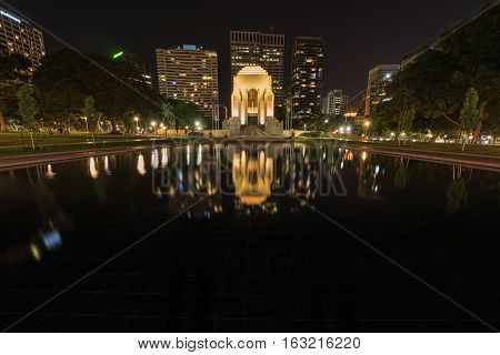 Anzac Memorial Hyde Park in Sydney Australia at night.DEC 28,2016 The Anzac Memorial was created by the people of New South Wales as a place to remember the impact of the Great War (1914 - 1918).