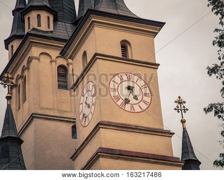 clock tower on a church in brasov romania