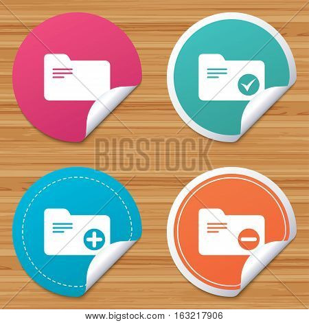 Round stickers or website banners. Accounting binders icons. Add or remove document folder symbol. Bookkeeping management with checkbox. Circle badges with bended corner. Vector