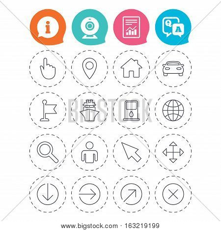 GPS navigation icons. Car and Ship transport. You are here, map pointer symbols. Search gas or petrol stations, hotels. Information, question and answer icons. Web camera, report signs. Vector