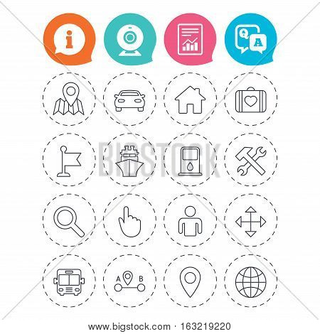 GPS navigation icons. Car, Bus and Ship transport. You are here, map pointer symbols. Search gas or petrol stations, hotels. A to B distance. Information, question and answer icons. Vector