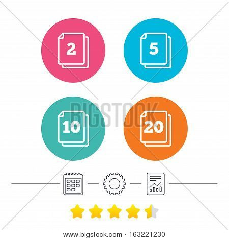 In pack sheets icons. Quantity per package symbols. 2, 5, 10 and 20 paper units in the pack signs. Calendar, cogwheel and report linear icons. Star vote ranking. Vector
