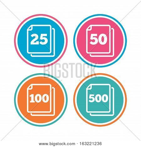 In pack sheets icons. Quantity per package symbols. 25, 50, 100 and 500 paper units in the pack signs. Colored circle buttons. Vector