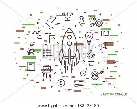Linear Startup space ship rocket vector illustration. Srart-up creative concept. Start up flat graphic design with colorful elements.