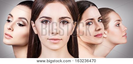 Collage of perfect faces of beautiful woman's over gray background