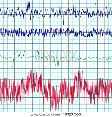 screen recording of the polygraph test charts of a lie detector to determine truth or lies , vector template
